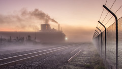 All it needed was a train (zebedee1971) Tags: fog train fence wow landscape dawn smog frost factory stones smoke tracks rail railway scenics notjustlandscapes