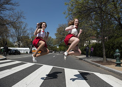 Washington, DC (Blinkofanaye) Tags: red washingtondc jump crossing dancers skirt zebra tap crosswalk