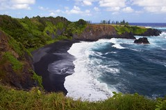 Secluded Black Sand Beach (Ken'sKam) Tags: ocean sea seascape beach nature blacksand hawaii surf waves maui hana coastline blacksandbeach