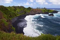 Secluded Black Sand Beach (Ken'sKam) Tags: ocean sea seascape beach nature blacksand hawaii surf waves maui hana coastline blacksandbeach