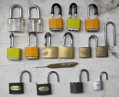Opened padlocks (zaphad1) Tags: cheap padlock padlocks opened open lock pick lockpick lockpicking picking security yale key keys bit bitting home made homemade transparent best effective single pin wilko wilkinsons rating brass zaphad1 creative commons