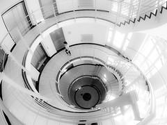 Staircase#2 (stefan.lafontaine) Tags: urban blackandwhite white black blancoynegro blanco monochrome architecture noir y negro olympus staircase architektur pro schwarzweiss 8mm et weiss blanc zuiko schwarz em1 treppenhaus blancetnoir skancheli
