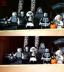 The Addams Family Camera Test (back2s0ul) Tags: brown guy girl skeleton panda lego ghost spooky minifigs doc delorean mime spectre