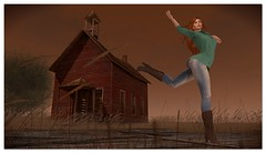 Free At Last? (or School's Out) (Azura Mistwalker) Tags: gatesofmelancholy derelict ruin schoolhouse dance secondlife
