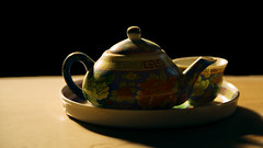 Fear of Solitude (| Haroon |) Tags: old light shadow stilllife contrast solitude antique chinese cobweb teapot dust odc