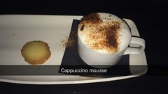 Cappuccino mousse (Elysia in Wonderland) Tags: birthday food coffee dessert cookie biscuit foam paulo cappuccino shortbread mousse beccas shortcake giannis