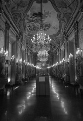 Palazzo Real grand dining room 2 (PhillMono) Tags: travel light shadow italy white black reflection art monochrome sepia architecture real grey mirror hall nikon room perspective royal grand palace tourist chandelier genoa dining mansion dslr palazzo d7100