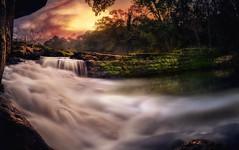 Waterfall Brazil Landscape (TheRealFelipe) Tags: sunset brazil cloud color reflection tree water rock river landscape long best strong