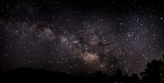 Milky Way Panorama (Scosanf) Tags: longexposure nightphotography light summer nature silhouette canon stars eos lowlight colorado outdoor nightsky 50mmf14 milkyway 6d darkskies niftyfifty topazlabs