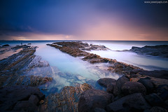 snapper rocks (Pawel Papis Photography) Tags: ocean longexposure blue sunset sea wallpaper sky cloud sun seascape color reflection art beach nature water beautiful weather rock stone sunrise landscape evening bay seaside colorful sundown horizon peaceful wave sunny australia scene shore qld queensland dreamy tranquil coolangatta snapperrocks