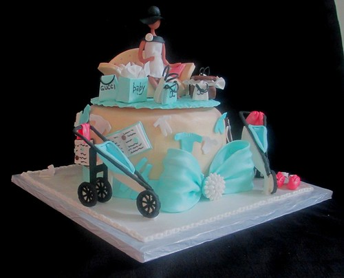 Baby Shower Fashionista Pregnant Mother Jogging Stroller Cake Side