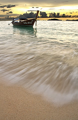 Boat at the beach (paza140) Tags: travel sunset sea sky holiday beach nature water clouds thailand boat sand wave nationalgeographic paza140