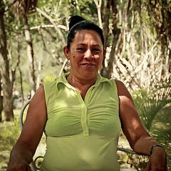 Cubana in Green (Three Dog Night & Day) Tags: portrait woman smile female square cuba cuban finca