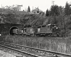 Tunnel Hill in Gallitzin, PA. (Ivan S. Abrams) Tags: blackandwhite newcastle pittsburgh butler bo ge prr ble conrail alco milw emd ple 2102 chessiesystem westmorelandcounty 4070 bessemerandlakeerie steamtours pittsburghandlakeerie ivansabrams eidenau steamlocomtives ustrainsfromthe1960sand1970s