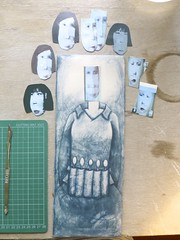 deciding which head for which body (extra-minty) Tags: illustration ceramic ceramics drawing illustrated clay pottery maud decal drawn transfer porcelain
