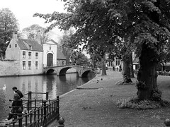 Bguinage de Bruges (intasko) Tags: life voyage trip nature water monochrome beauty eau noir mood belgium belgique religion perspective vision bruges blanc monastere visite vie poesie romantisme melancolie