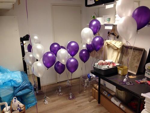 Tafeldecoratie 3ballonnen Paars Wit