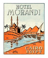 Luggage Label of MORANDI Hotel in Cairo (Tulipe Noire) Tags: africa hotel 1930s citadel label egypt middleeast luggage nile cairo egyptian pyramids morandi