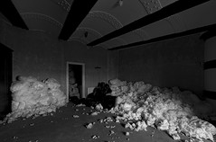 Little Fluffy Clouds (The New Motive Power) Tags: shadow sea blackandwhite abandoned contrast dark stuffing weird quiet fort interior room military victorian pillow solent portsmouth fortress derelict nomansland defence canon7d