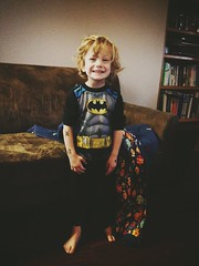329 of 365 - Pirate Tattooed Batman ([ the black star ]) Tags: boy 3 silly smile kid toddler things couch kingston blanket stuff pjs batman messyhair grin barefeet bedhead shrug preschooler tattooed temporarytattoos 329365 theblackstar threehundredtwentynine piratetattoos thelittlemister uploaded:by=flickrmobile brooklynfilter flickriosapp:filter=brooklyn