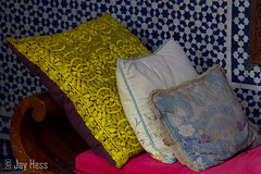 Coussins colors (Jay Hess) Tags: canon pillows morocco marrakesh 28135mm riadenija 2013 eos7d marrakeshtensiftelhaouz