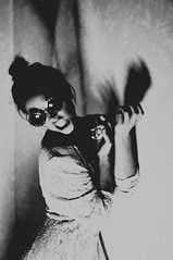 (emmakatka) Tags: shadow portrait blackandwhite woman white girl sunglasses fashion vintage dark hands dress lace teeth rage angry snarl