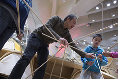 Remake the Holidays Day 1 (NYSCI) Tags: usa ny newyork design education lab holidays unitedstates science queens recycle newyorkhallofscience remake sandbox dowels 2013 nysci