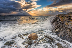 Sunrays (Bent Velling) Tags: sun storm water norway clouds moss rocks waves windy nes rays jely ef1740mm canon6d bentvelling