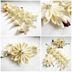Custom Wedding Silk Cream (thea superstarr) Tags: wedding flower vintage hair thea cream silk kimono accessories starr japanesestyle kanzashi fabricflower hanakanzashi tsumamikanzashi theastarr