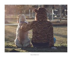 BF (simona_salou) Tags: friends dog girl animal kids oldstyle tiger nia perro amigas amistad animalia vision:outdoor=0964 vision:sky=0603