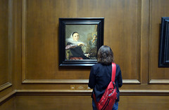 Beth viewing Judith Leyster's Self-Portrait, c. 1633