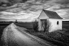 Kapelle (StefanB) Tags: bw monochrome germany landscape deutschland chapel geotag ries kapelle schwaben 2013 em5 1235mm