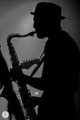 S.A.R.S band (Katja Pavlovic) Tags: blackandwhite musician music man black male hat photography concert nikon play band slovenia ob saxophone petar sars savi zagorje milanovi