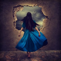 we are infinite (brookeshaden) Tags: texture fairytale dubai artist uae dreaming cobblestone future present past infinite windblown fineartphotography bluedress artphotography crackedwall brokenwall brookeshaden conceptualimagery