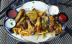 Baked Wings on Fries (sheryip) Tags: food wings yum bistro delicious fries lebanese morgantown baked