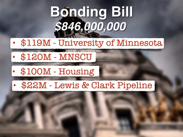 Main spending items in the 2014 DFL Bonding Bill.