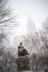 William H. Seward and the Metropolitan Life Tower (Michael Braverman) Tags: life street city winter white snow newyork storm black cold building tower statue architecture warning buildings square photography nikon broadway william henry heavy blizzard archictecture metropolitan seward 2015 d610 madisson