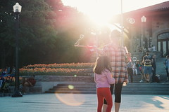 Day 39 (natalia.rw) Tags: sunset kids fun montreal bubbles flare montroyal