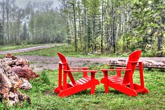 Take a Seat (Cindy's Here) Tags: trees red ontario canada green forest canon rocks chairs pearl amethyst takeaim billsoldamethystmine muskogeechairs