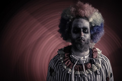 """Party"" (legaryphotography) Tags: light party portrait lightpainting face dark happy photography photo nikon paint moody sad faces mask emotion clown makeup portraiture angry emotional clowns tones angy"