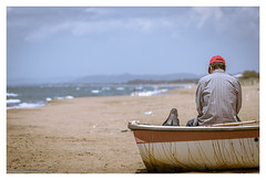 Spring days at the beach (s1nano) Tags: red sea people seascape man beach clouds boat spring sand dof bokeh thalassa kakovatos nikond7000 spring2016 springdaysatthebeach tamronsp70300mm1456vcusd