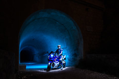 LightMotos_7 (Suso Sinmiedo) Tags: blue lightpainting verde green azul alicante motorbike moto tunel agost pilito vaverdedelmaigm