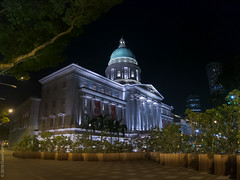 The art of lighting (D-j-L) Tags: trees building architecture night canon dark singapore nationalgallery dome lit sg floodlight s100