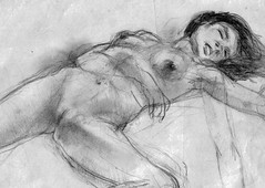 harlequeen (judafuta) Tags: sleeping blackandwhite woman sexy art monochrome female pencil naked nude erotic pussy drawings vagina grayscale harlequeen