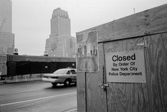NewYork, march 2002 (Alberto Prez Puyal) Tags: new wood york 2001 2002 bw never america closed remember brothers cab taxi united towers twin ground olympus 11 september alberto fallen plus hp5 states xa zero ilford forget perez carpenters remembering puyal