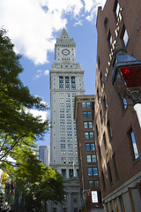 Boston cityscape (drusmam) Tags: windows red building tower clock glass boston skyline architecture modern facade skyscraper corporate office high downtown cityscape technology massachusetts famous perspective landmark bean structure historic clocktower business lamppost metropolis tall hightech meetings financial futuristic townsquare oldfashioned fascinating multistory customshouse stockmarket urbanscene