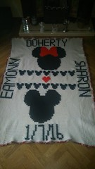 wedding blanket for Eamonn and Sharon (dochol) Tags: wedding chart cute handmade crochet craft graph disney homemade blanket mickeymouse alphabet minniemouse manta personalised croche crochethooks weddingafghan haakenwert