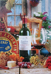 French Flavours (pefkosmad) Tags: stilllife food wine poland hobby puzzle photograph leisure jigsaw complete pastime castorland 1500pieces frenchflavours