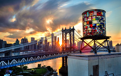 Water Tower Daydream (Matthew Pugliese) Tags: nyc newyorkcity longexposure art clouds downtown stainedglass manhattanbridge lowermanhattan nycskyline nycicons oneworldtrade tomfruin tomfruinwatertower matthewpugliese matthewpugliesephotography tomfruinartist