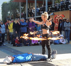 scary (Grenzeloos1) Tags: winter woman fire brisbane southbank ring queensland streetperformer 2016